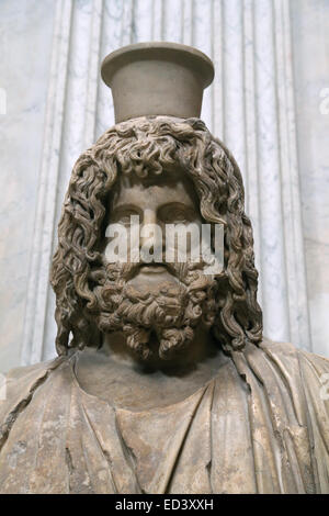 Bust of Serapis. Marble, roman copy, after a Greek original from the 4th century BC, stored in the Serapaeum of - Stock Photo