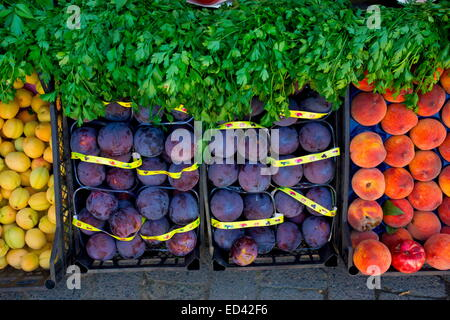 Fruit and vegetable store on Market day in Ikizdere, Pontic Alps, north-east Turkey - Stock Photo