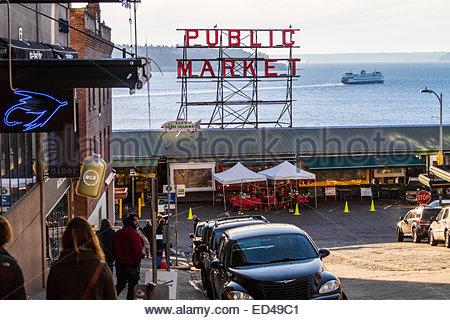 Pike Place Market and passenger ferry in background - USA - Washington - Seattle - Stock Photo