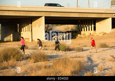 The dried up river bed of the Kern River in Bakersfield, California, caused by the ongoing catastrophic drought. - Stock Photo