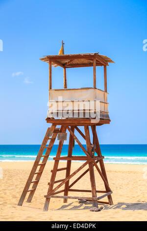 Lifeguard Tower at the Beach in Boavista, Cape Verde, Cabo Verde - Stock Photo