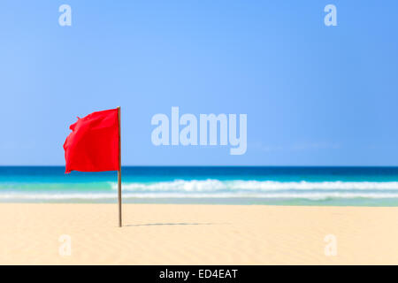 red flag on the beach in Boavista, Cape Verde - Cabo Verde - Stock Photo