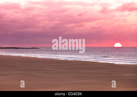 Sunset and sand dunes at beach Boavista, Cape Verde  - Cabo Verde - Stock Photo