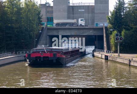 Kuhne and Nagel freight barge leaves Eibach lock on Rhine Main Danube canal near Nuremburg Germany - Stock Photo