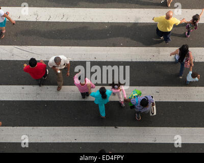 Women men and children walking through a zebra crossing top view - Stock Photo