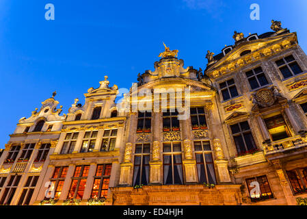 Bruxelles, Belgium. Night image with Grand Place (Grote Markt) and medieval house facades. - Stock Photo
