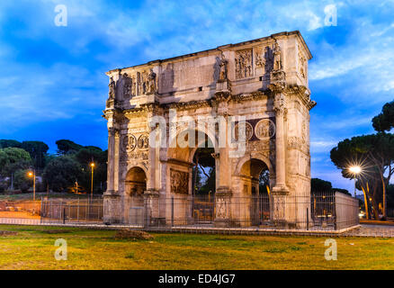 Rome, Italy. Arch of Constantine, commemorate emperor victory over Maxentius in 312AD, Roman Empire civil war - Stock Photo