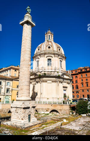 Rome, Italy. Trajan Column is a triumphal column commemorating Trajan roman emperor victory in the Dacian Wars. - Stock Photo