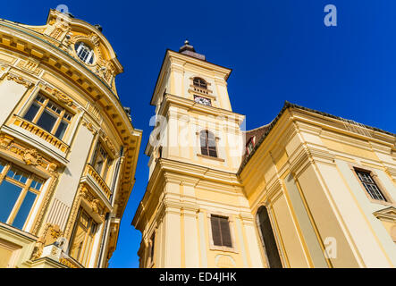 Architecture details in Large Square, Sibiu downtown, medieval city of Transylvania, Romania. - Stock Photo
