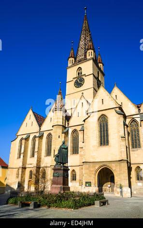 Sibiu, Romania. Lutheran cathedral, gothic architecture in Transylvania, landmark of saxons. - Stock Photo