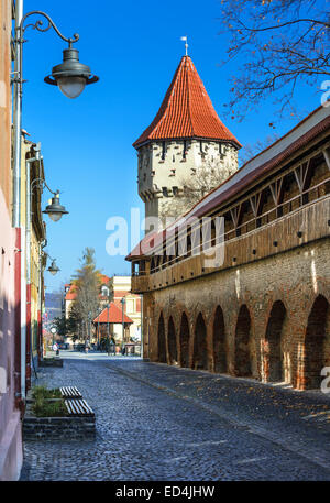 Sibiu, Romania. Medieval tower of stone-walled fortification of ancient city of Transylvania, romanian landmark. - Stock Photo