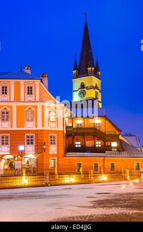 Sibiu, Transylvania. Evangelical Cathedral, dominates Small Square, medieval Saxon city of Sibiu, Romania. - Stock Photo