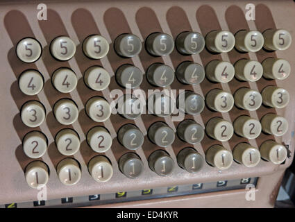 Comptometer - key-driven mechanical calculator showing numbered button keys - Stock Photo