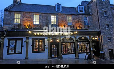 Panorama of Greyfriars Bobby historic pub at dusk, Edinburgh Old Town, Dog outside, Lothians, Scotland, UK - Stock Photo
