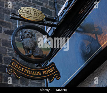 Greyfriars Bobby historic pub sign outside at dusk, Edinburgh Old Town, Dog outside, Lothians, Scotland, UK - Stock Photo