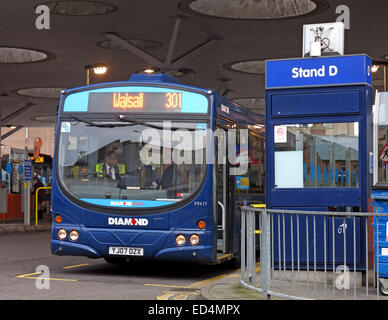 NXWM Walsall Bus Station St Pauls Street Stand D with 301 Diamond bus - Stock Photo