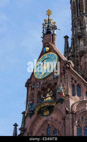 Detail of carvings on Church of our Lady or Frauenkirche cathedral in market square, Nuremberg, Germany - Stock Photo