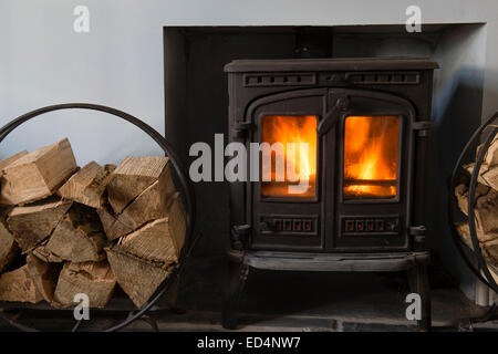 A small cast iron log-burning stove fire , with wooden logs stacked ready to burn, UK - Stock Photo