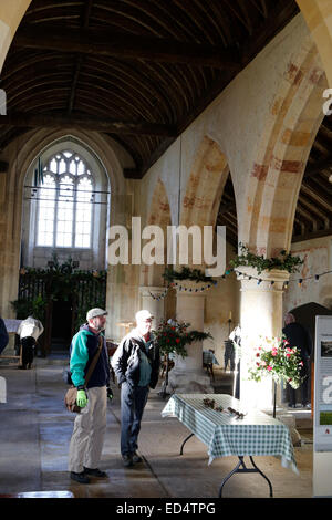 Salisbury Plain, WIltshire UK, 27th Dec 2014. Visitors are rarely allowed inside The Grade 1 listed church of St - Stock Photo