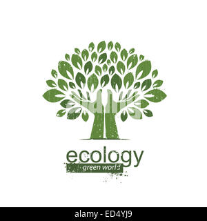 tree and hands. Logo, icon. Vector illustration - Stock Photo
