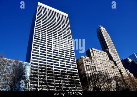 NYC:  West 42nd Street corporate tower and 500 Fifth Avenue (building at right) on West 42nd Street overlooking - Stock Photo