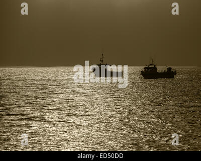 Two fishing boats moored off Holy Island, Northumberland, England. They are silhouetted against the sunlight. The - Stock Photo