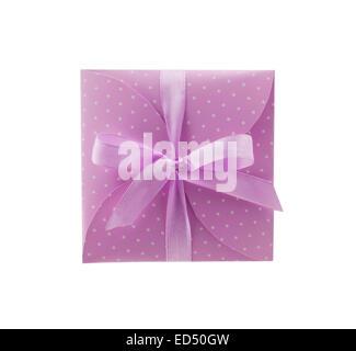 decorative envelopes with ribbon purple - Stock Photo