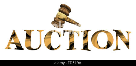 Auction in gold with Woody Hammer in 3D - Stock Photo