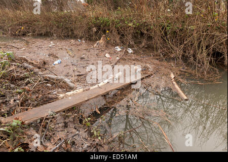 Making use of discarded scaffold plank board attempts are made to cross a drainage ditch pollution backlogged waste - Stock Photo