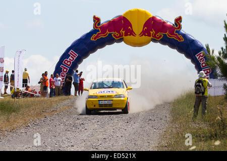 ISTANBUL, TURKEY - JULY 13, 2014: Bora Yakin drives Fiat Palio in 35. Istanbul Rally, Gocbeyli Namet Stage - Stock Photo