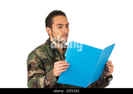 hispanic military man wearing uniform - Stock Photo