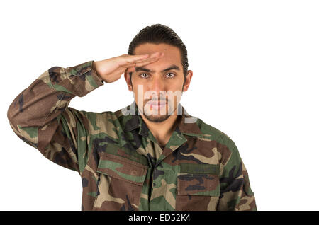 hispanic military man wearing uniform - Stock Photo