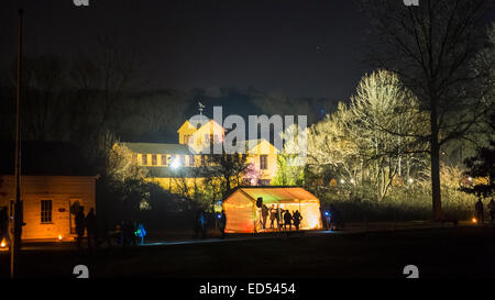 Old Bethpage, New York, USA. December 26, 2014. At night, the historic, sweeping rustic grounds of Old Bethpage - Stock Photo