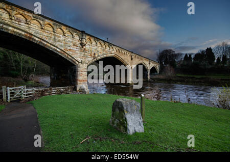 The Mercury Bridge, Richmond spanning the River Swale some 400 yards from the Old Railway Station, North Yorkshire. - Stock Photo