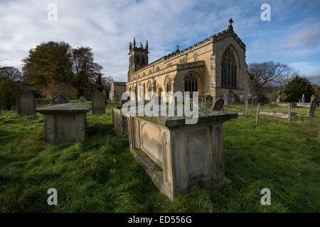 Aysgarth is a parish, township, village and the head of a union, pleasantly situated on the south side of the river - Stock Photo
