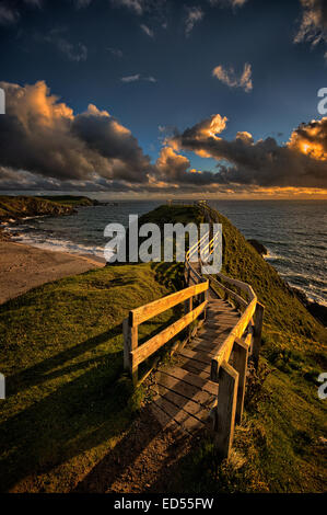 The viewing platform at Durness over looking the Northern Atlantic in Northern Scotland - Stock Photo