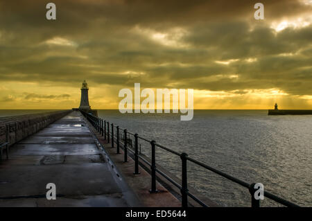 The mighty River Tyne entering the North Sea at Tynemouth on the Tyne and Wear coast. Stock Photo