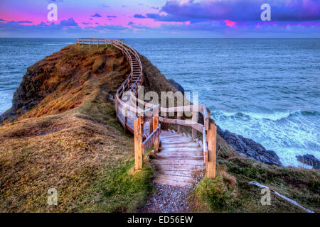 Location : Durness, Northern Scotland. At the setting of the sun looking out over the Northern Atlantic. - Stock Photo