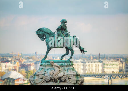 BUDAPEST - OCTOBER 21: Statue of Prince Eugene of Savoy at the Royal Castle on October 21, 2014 in Budapest, Hungary. - Stock Photo