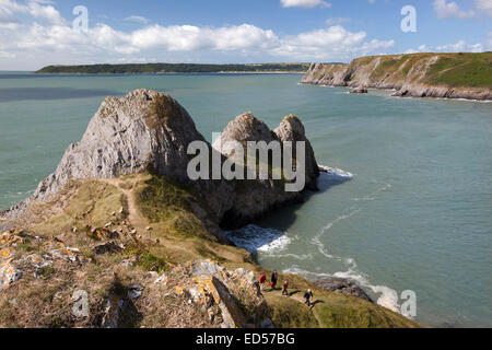 Three Cliffs Bay, Gower Peninsula, Swansea, West Glamorgan, Wales, United Kingdom, Europe - Stock Photo