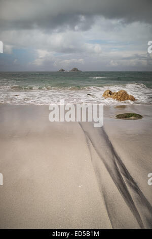 The view looking out to see on Porth Nanven Beach - Stock Photo