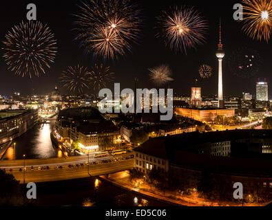 berlin new year's eve - Stock Photo