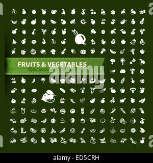 food. fruit and vegetables icon set - Stock Photo