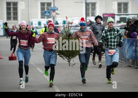 Vilnius, Lithuania. 28th Dec, 2014. People take part in the race with a Christmas tree in Vilnius, Lithuania, Dec. - Stock Photo