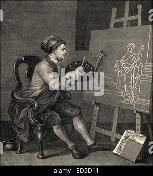 Self-Portrait, William Hogarth, 1697 - 1764, an English painter, printmaker, pictorial satirist, social critic, - Stock Photo