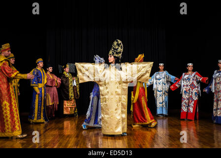 Actors in costumes of Sogdian period of Persian Empire, IV-VII AD, during 'Instants of Eternity' show in theater - Stock Photo