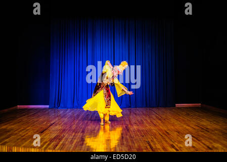 Actress dances in traditional Uzbek costume of 19 century, during 'Instants of Eternity' show in theater of historical - Stock Photo