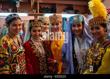 Portrait of actresses in traditional Uzbek costumes of 19 century after 'Instants of Eternity' show in theater of - Stock Photo