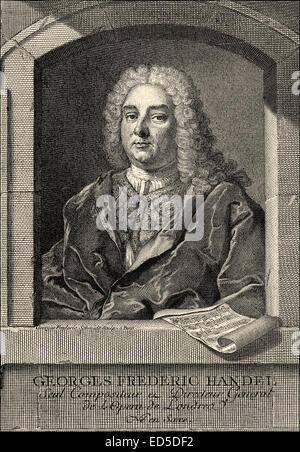 George Frederick Handel or George Frideric Handel, 1685 - 1759, a German-British composer of the Baroque, Georg - Stock Photo