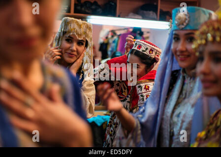 Actors changing in dressing room after 'Instants of Eternity' show in theater of historical costume 'El Merosi', - Stock Photo